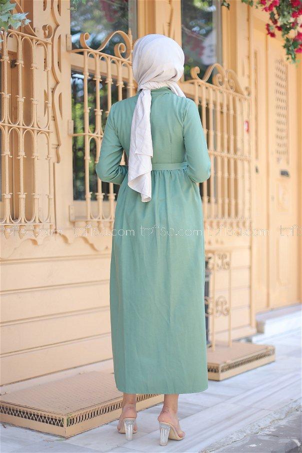 Cepli Elbise Yeşil - 2696
