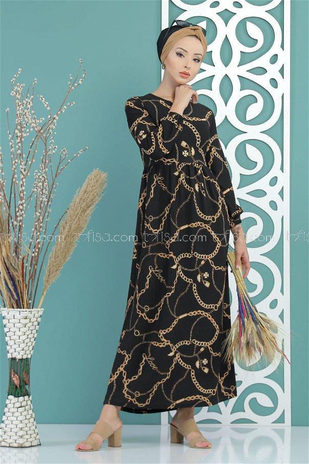 Chain Pattern Dress Black - 02 7420