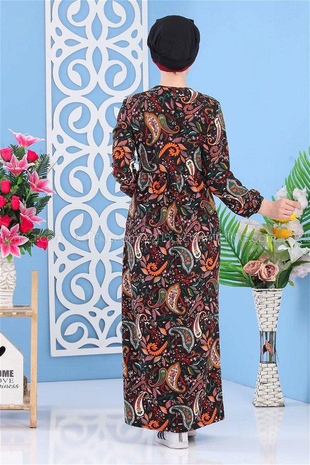Çiçekli Elbise Siyah - 02 7264
