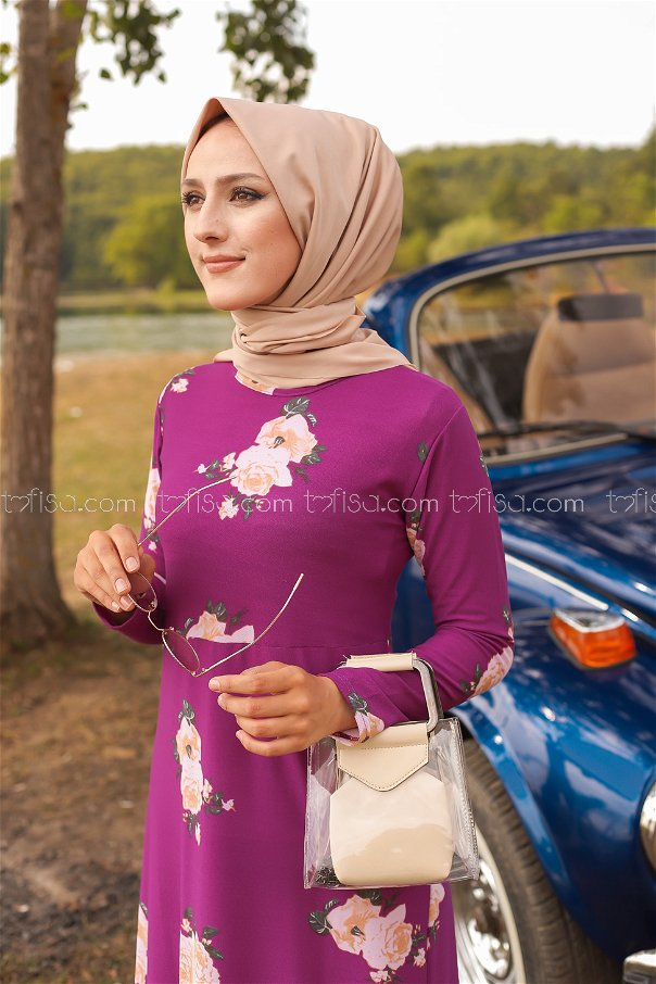 Çiçekli Elbise Mor - 8440