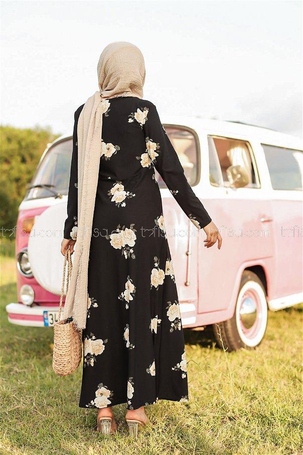Çiçekli Krep Elbise Siyah - 8440