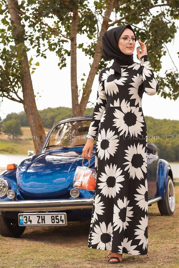 Çiçekli Krep Elbise Siyah Beyaz - 8462