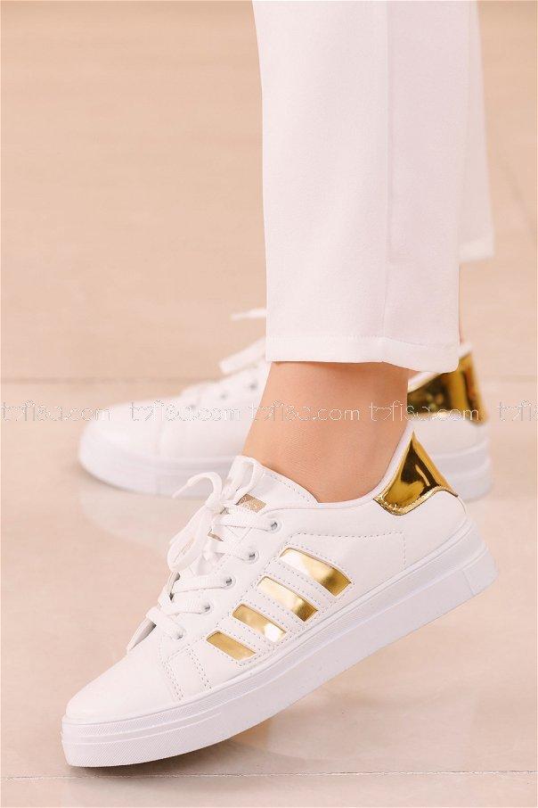 Cızgılı Derı Garnılı Ayakkabı BYZ BEYAZ GOLD - 8700