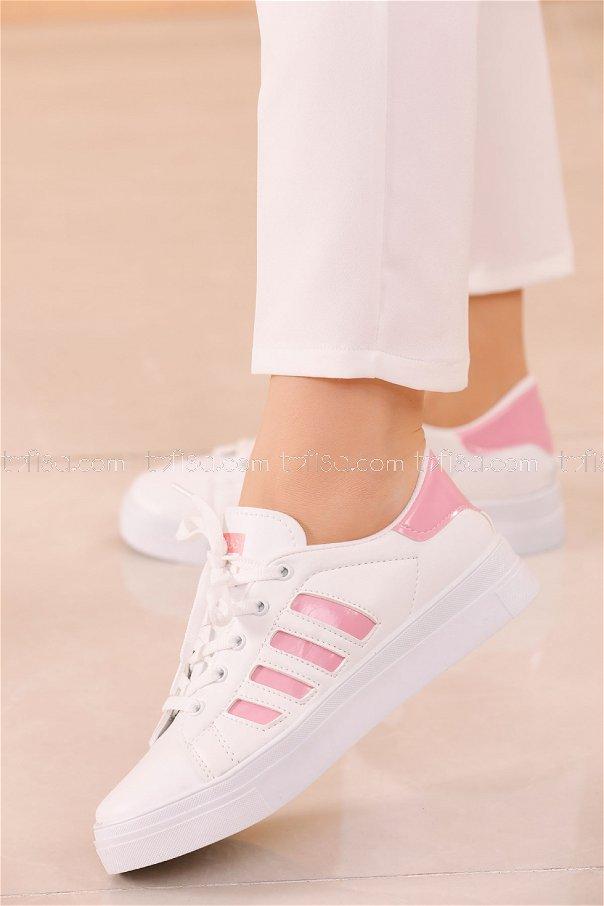 Cızgılı Derı Garnılı Ayakkabı BYZ BEYAZ PEMBE - 8700