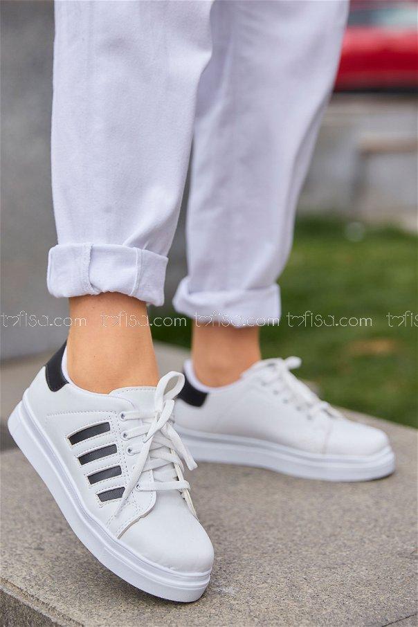 Cızgılı Derı Garnılı Ayakkabı BYZ BEYAZ P.SIYAH - 8700