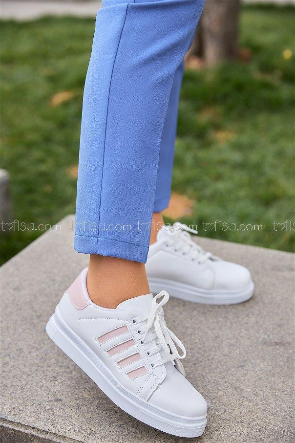 Cızgılı Derı Garnılı Ayakkabı Byz Beyaz Pudra - 8700
