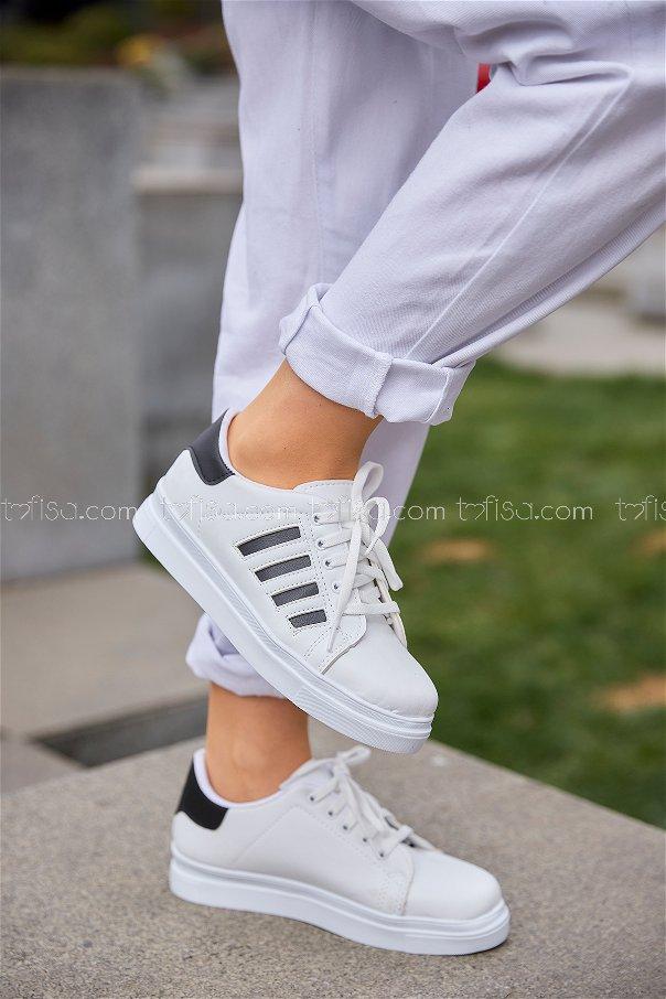 Cızgılı Derı Garnılı Ayakkabı Byz Beyaz Sıyah - 8700