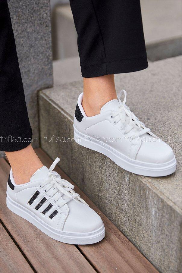 Cızgılı Derı Garnılı Ayakkabı BYZ BEYAZ S.SIYAH - 8700