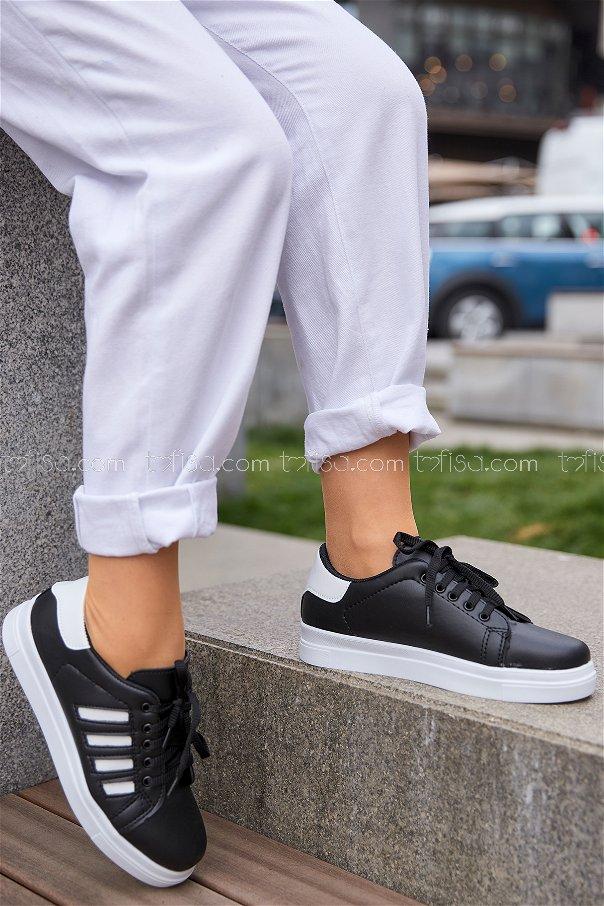 Cızgılı Derı Garnılı Ayakkabı Syh Beyaz Beyaz - 8700