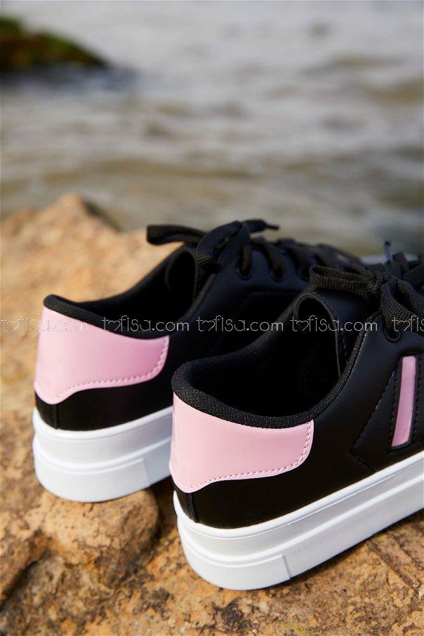 Cızgılı Derı Garnılı Ayakkabı SYH BEYAZ PUDRA - 8700