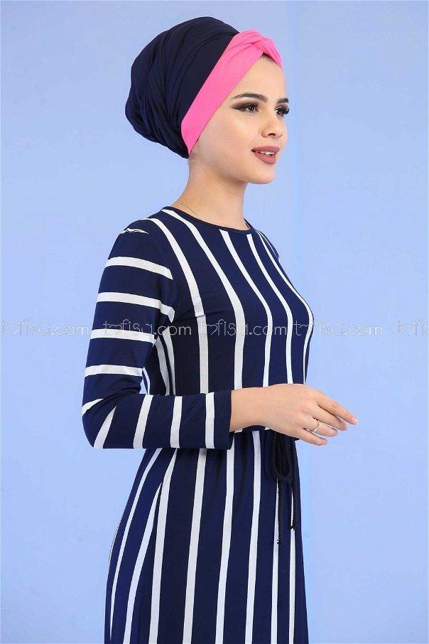 Çizgili Elbise Lacivert - 02 5100