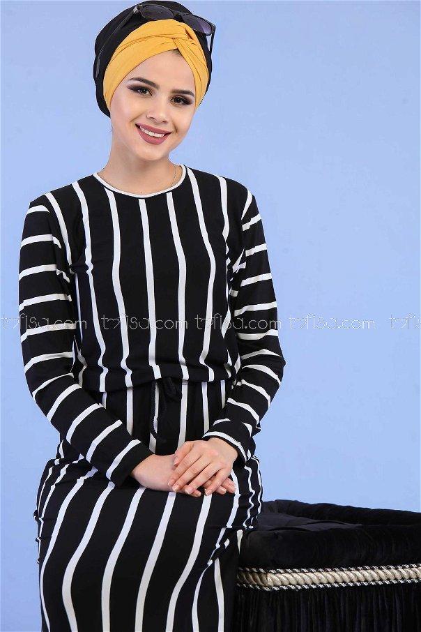 Çizgili Elbise Siyah - 02 5100
