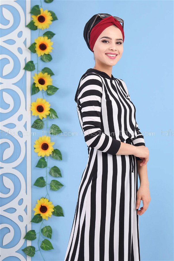 Çizgili Elbise Siyah - 03 5135
