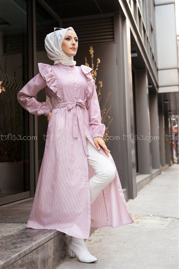 Çizgili Elbise Bordo - 3233