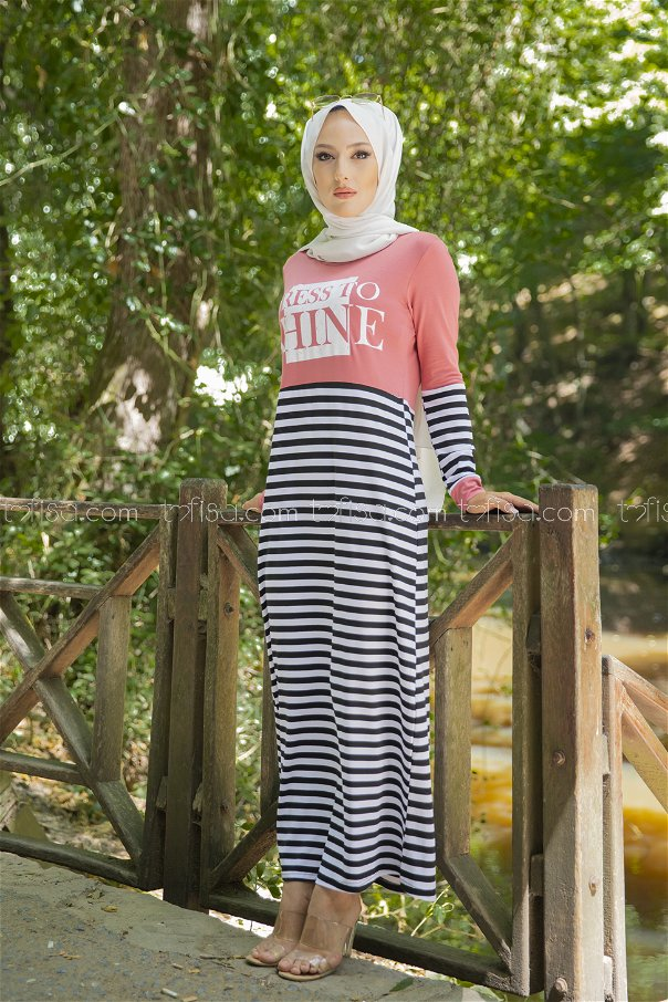 Çizgili Elbise Gül - 5263