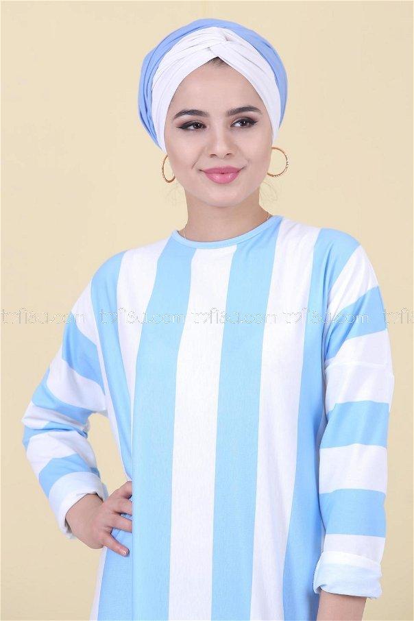 Çizgili Elbise Mavi - 03 5130