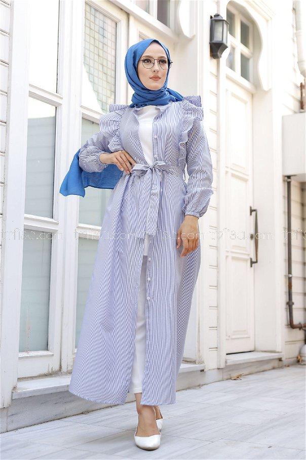 Çizgili Elbise Mavi - 3233