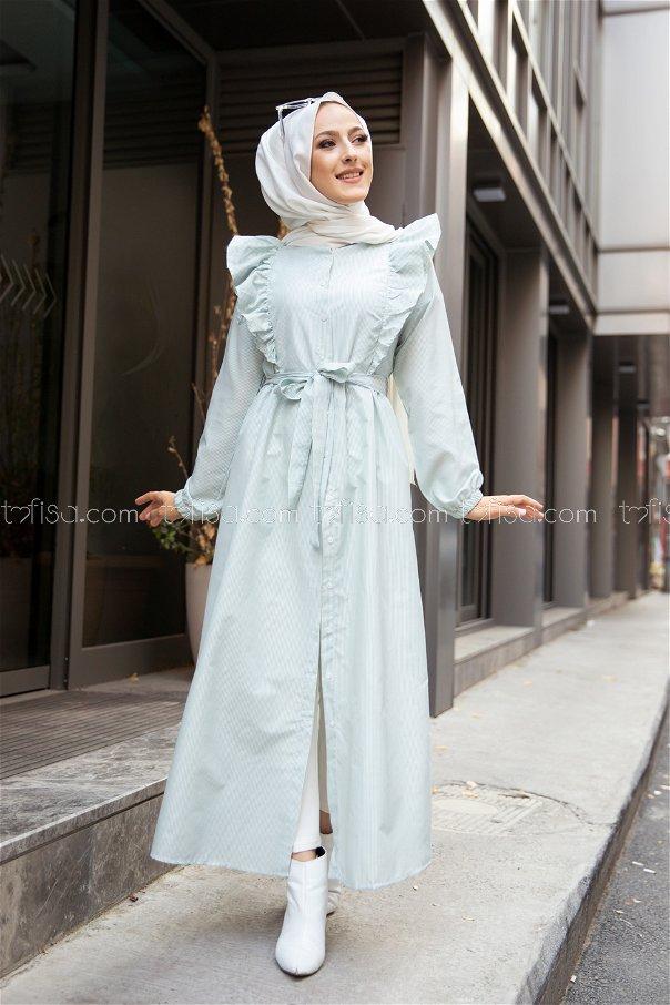 Çizgili Elbise Mint - 3233