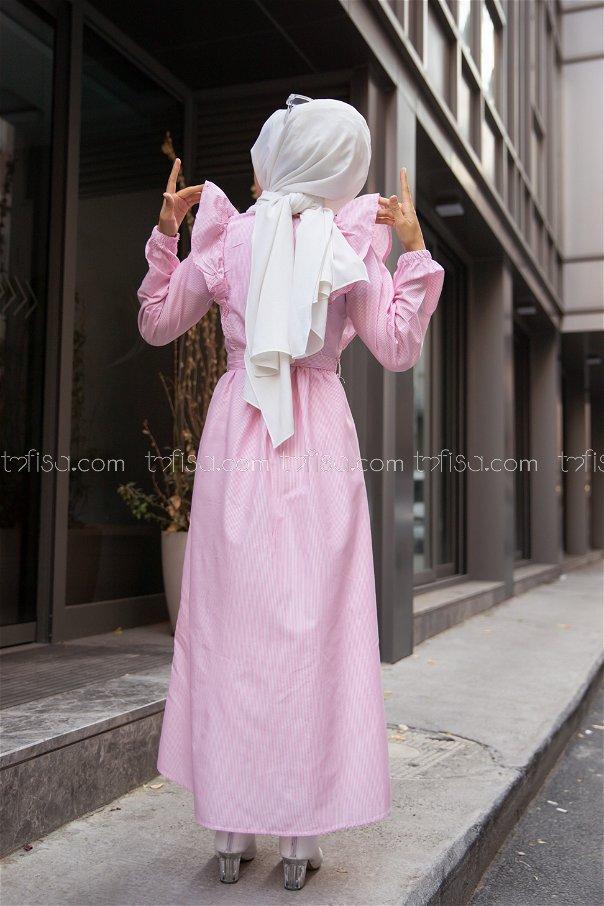 Çizgili Elbise Pudra - 3233