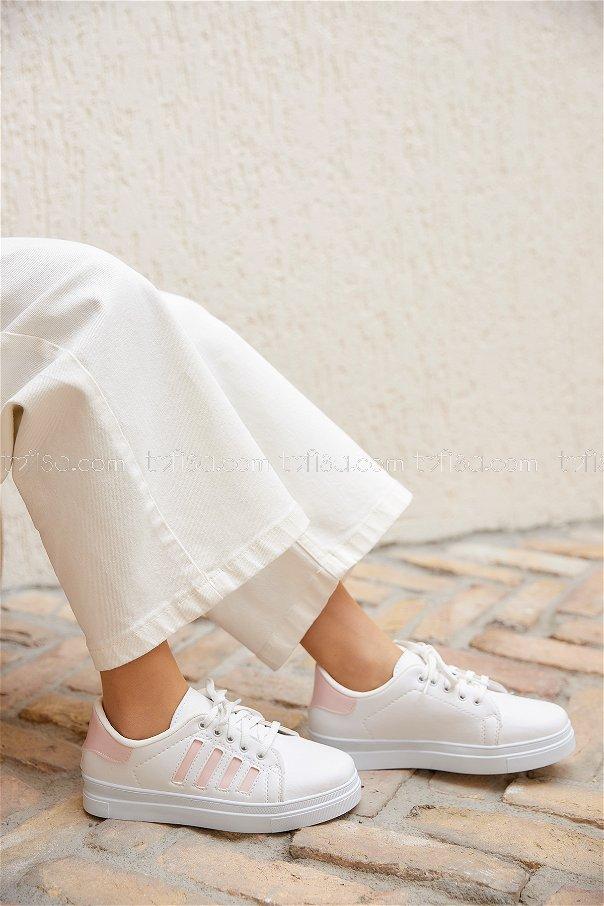 Cızgılı Garnılı Ayakkabı Byz Beyaz Pudra - 8702