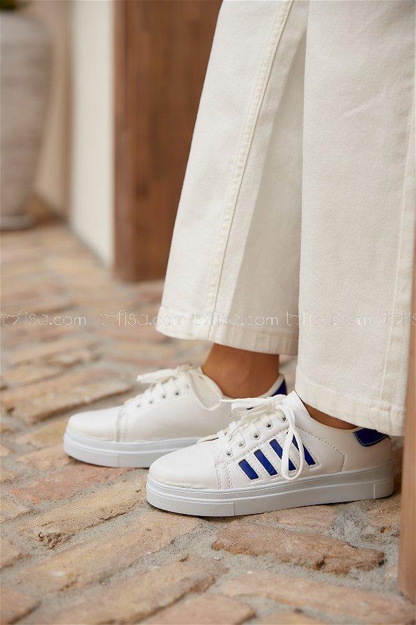 Cızgılı Garnılı Ayakkabı Byz Beyaz Saks - 8702