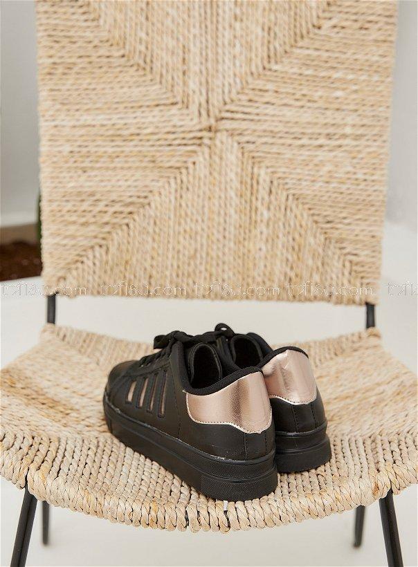 Cızgılı Garnılı Ayakkabı Syh Sıyah Gold - 8702