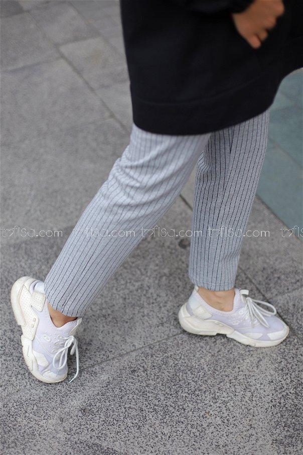 Çizgili Pantolon Gri Siyah - 4150