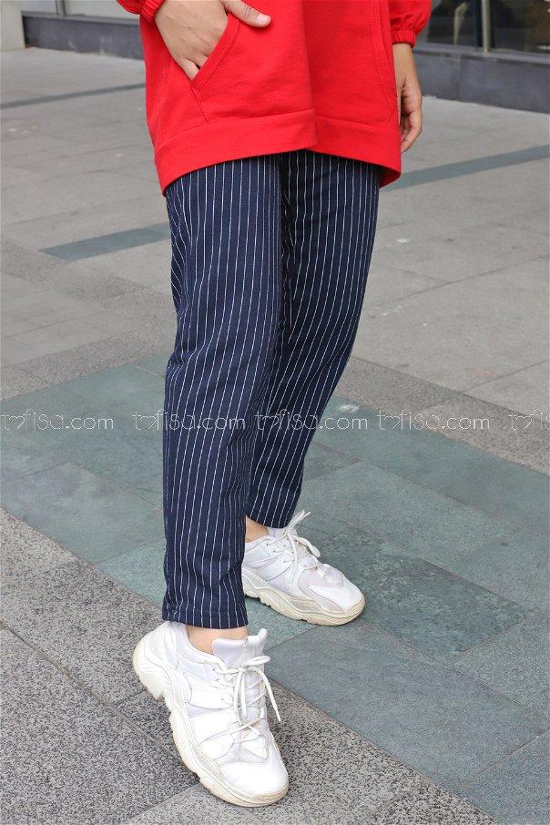 Çizgili Pantolon Lacivert - 4150