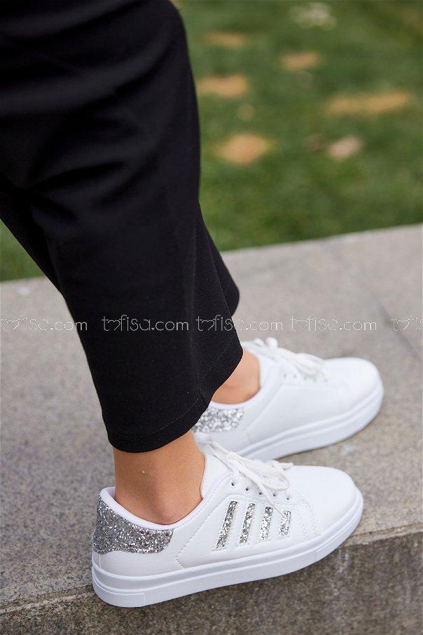 Cızgılı Sım Garnılı Ayakkabı BYZ BEYAZ GUMUS - 8701