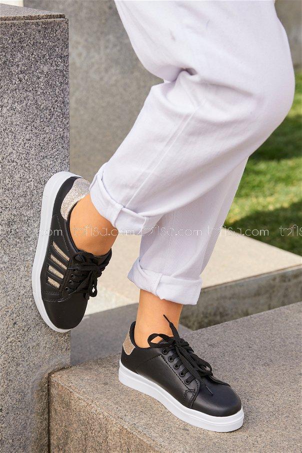 Cızgılı Sım Garnılı Ayakkabı SYH BEYAZ GOLD - 8701