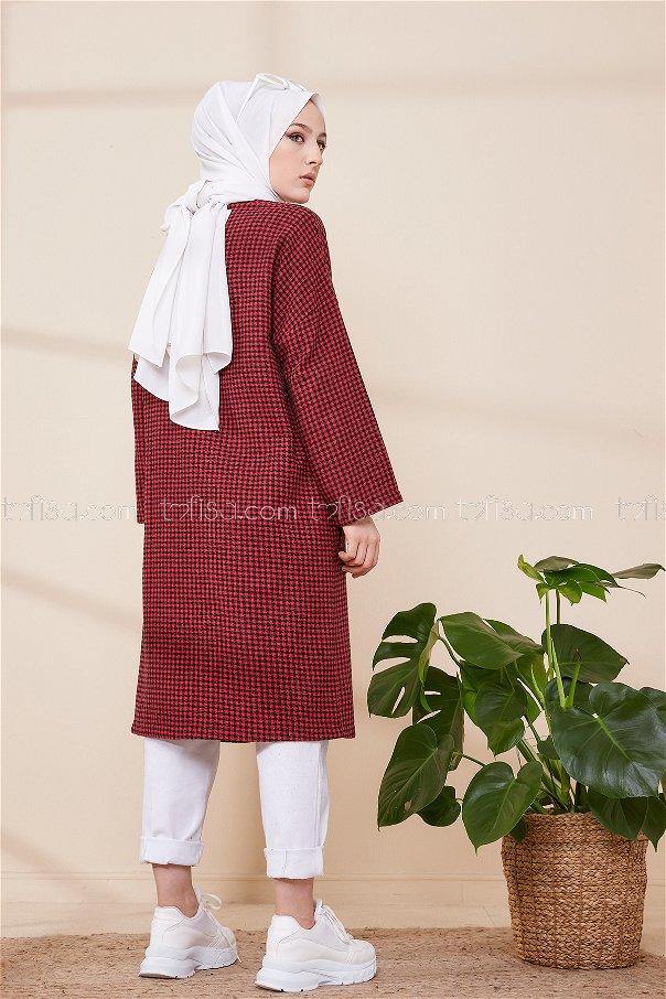 Coat Red Black - 3387
