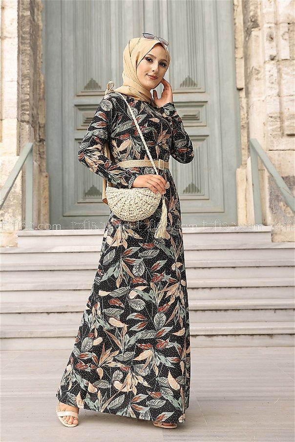 Crepe Dress Black Mint - 8442