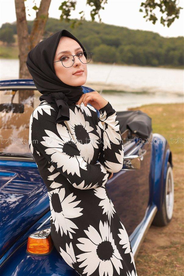 Crepe Dress Black White - 8462