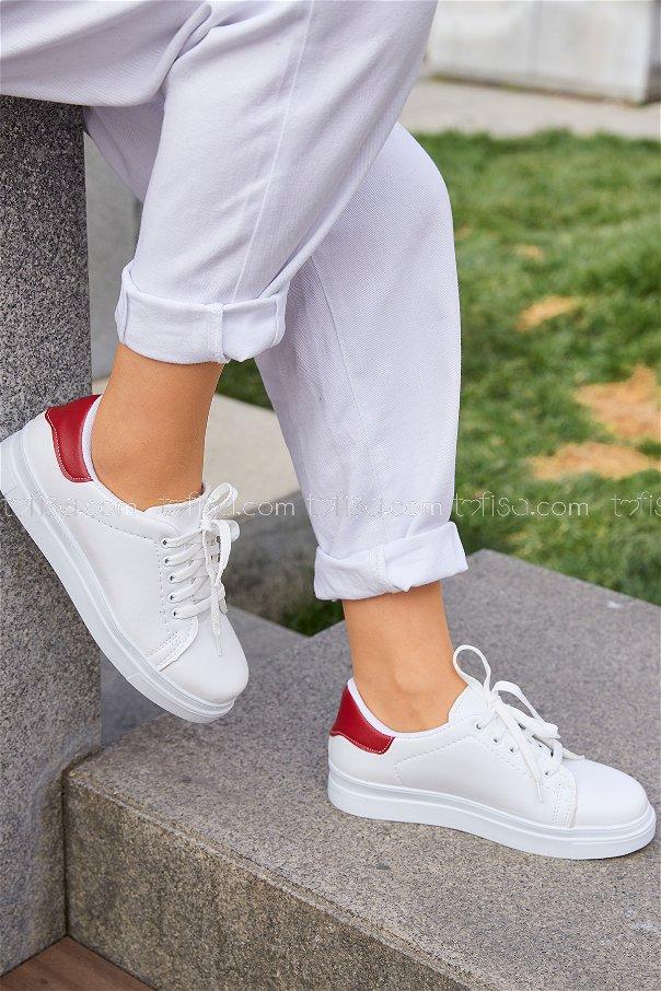 Derı Garnılı Ayakkabı Byz Beyaz Kırmızı - 8699