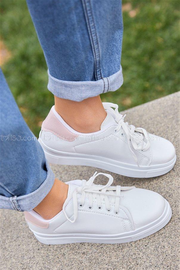 Derı Garnılı Ayakkabı Byz Beyaz Pudra - 8699