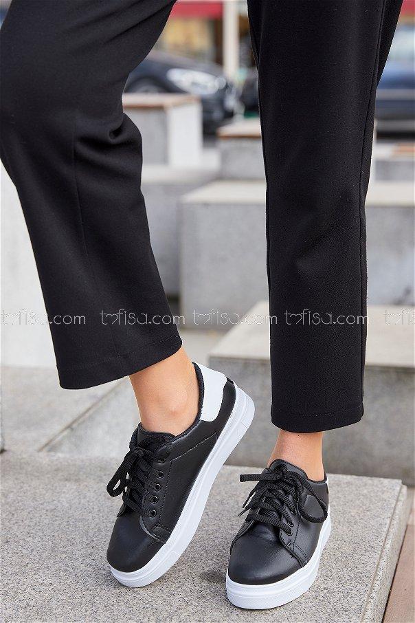 Derı Garnılı Ayakkabı Syh Beyaz Beyaz - 8699