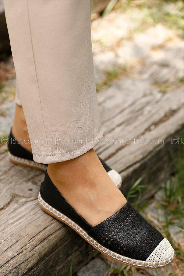 Desenlı Babet Ayakkabı SIYAH - 20393