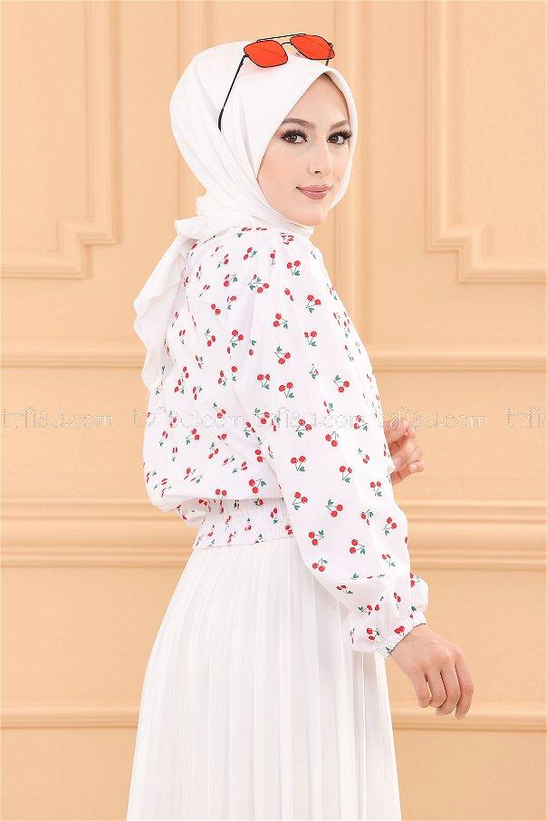 Desenlı Bluz BEYAZ - 3740