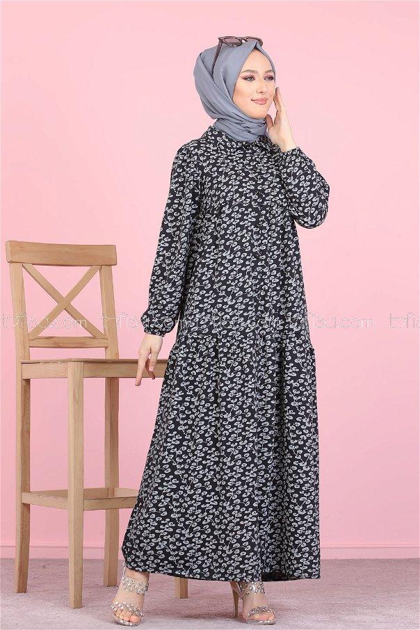 Desenli Elbise Siyah - 3099