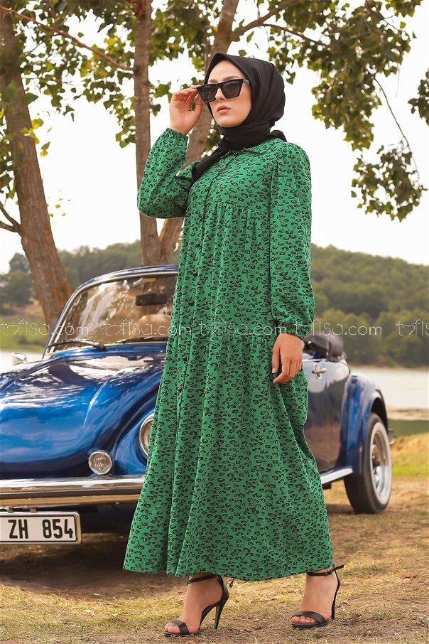 Desenli Elbise Yeşil - 3099