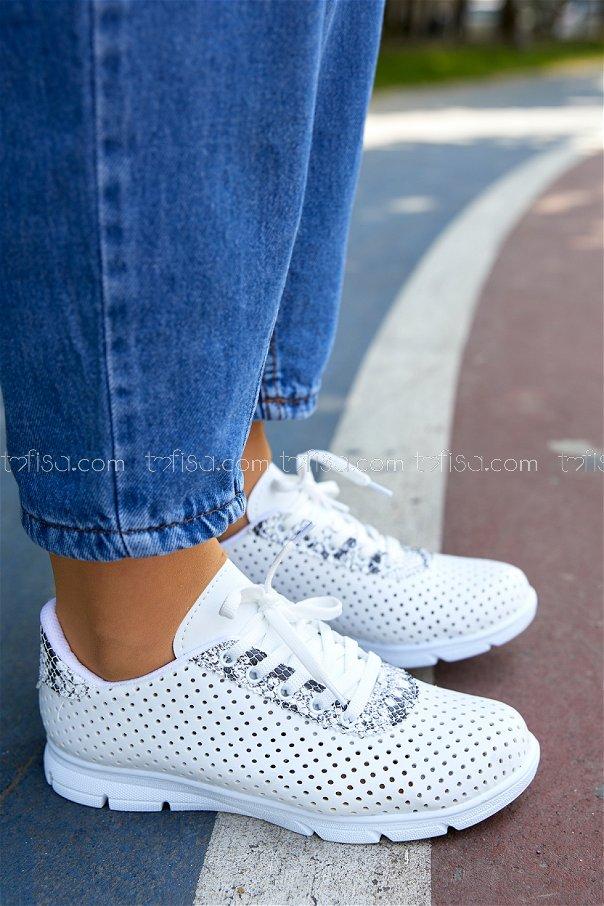 Desenlı Spor Ayakkabı BEYAZ - 20409