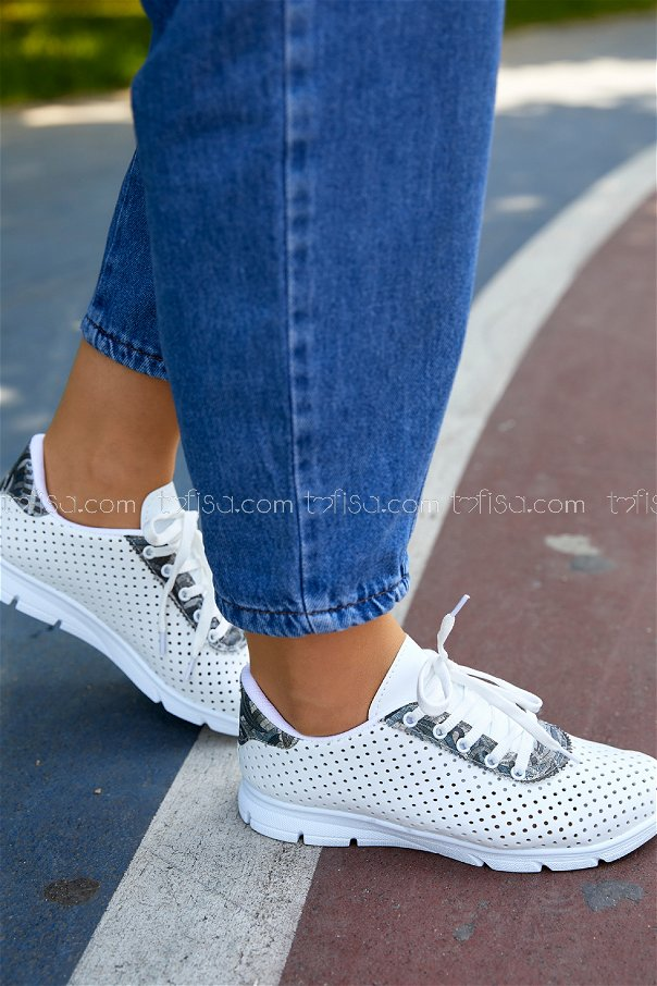 Desenlı Spor Ayakkabı BEYAZ - 20410