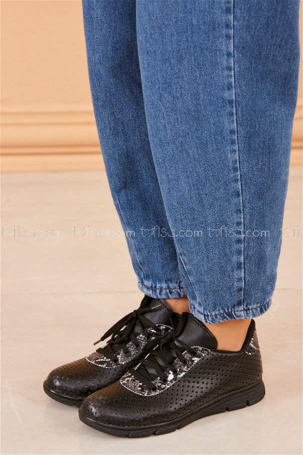 Desenlı Spor Ayakkabı SIYAH - 20409