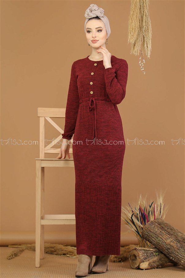 Dress belt pleated claret red - 8197