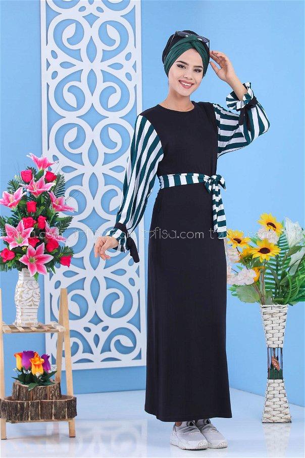 Dress - Black-Green - 03 5140