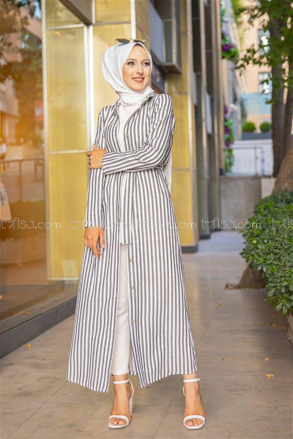 Dress Ecru Navy Blue - 9057