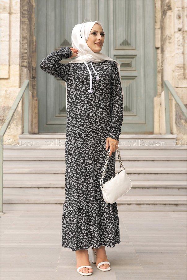 Dress Flower Pattern Black - 8513