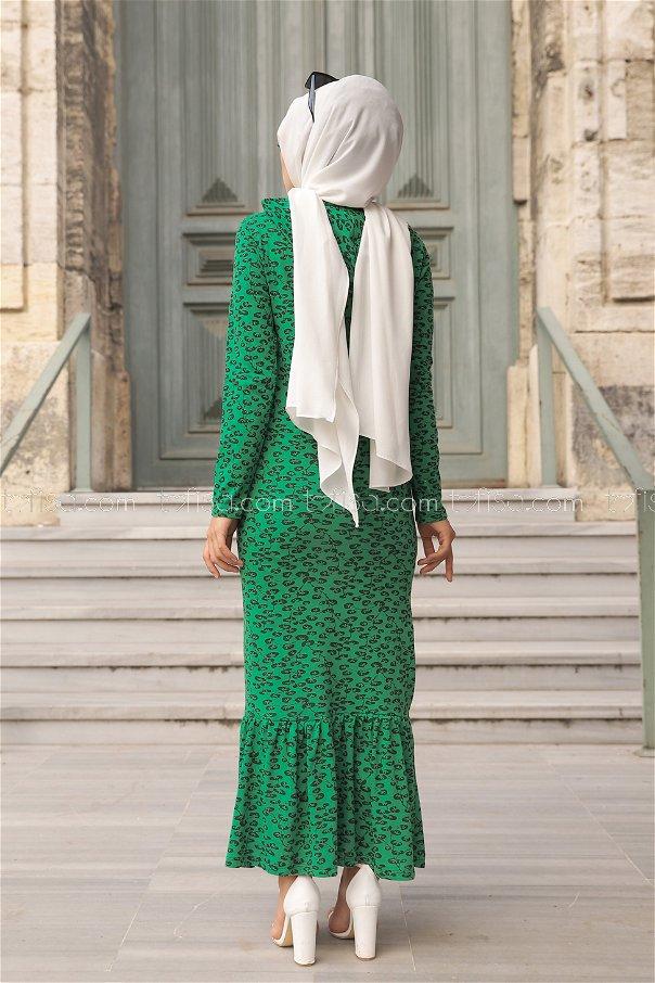 Dress Flower Pattern Green - 8513