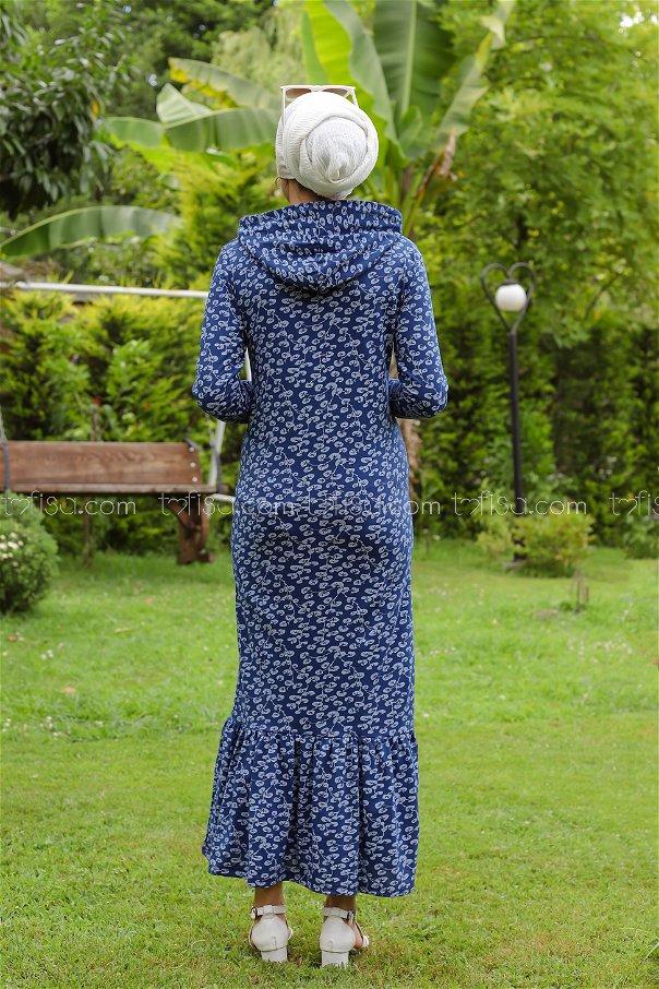Dress Flower Pattern Navy Blue - 8513