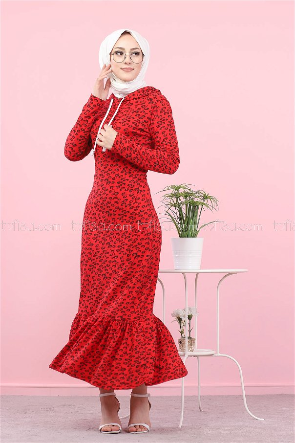 Dress Flower Pattern Red - 8513